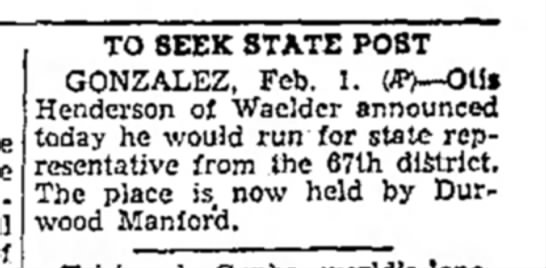 - TO SEEK STATE POST GONZALEZ, Feb. 1. (#)—OUi...
