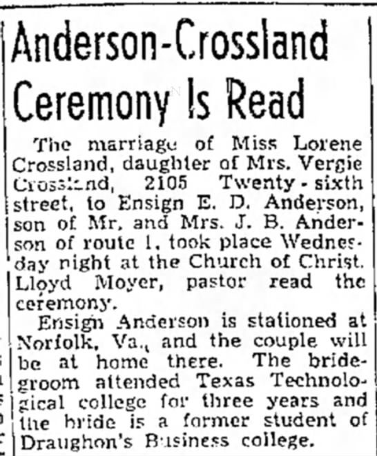 Marriage 20 Oct 1943 - Anderson-Crossland Ceremony Is Read The...