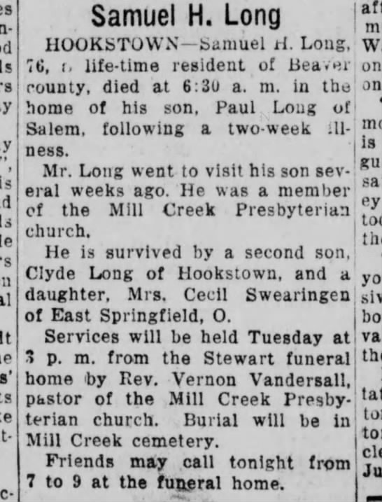 Samuel H Long 76 Dies. - Samuel H. Long HtXiKisTOWN county, died at 6;3u...