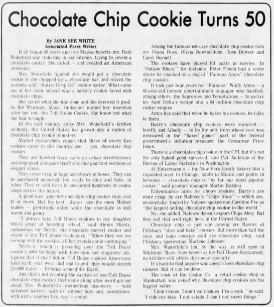 Chocolate chip cookie turns 50 - Chocolate Chip Cookie Turns 50 By JANE SEE...