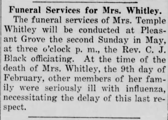 whitley_jezabelle_burris_thenews_albemarle_5apr1919 - Funeral Services for Mrs. Whitley. The funeral...