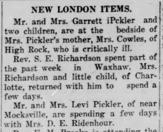 - NEW LONDON ITEMS. Mr. and Mrs. Carrett iPckler...