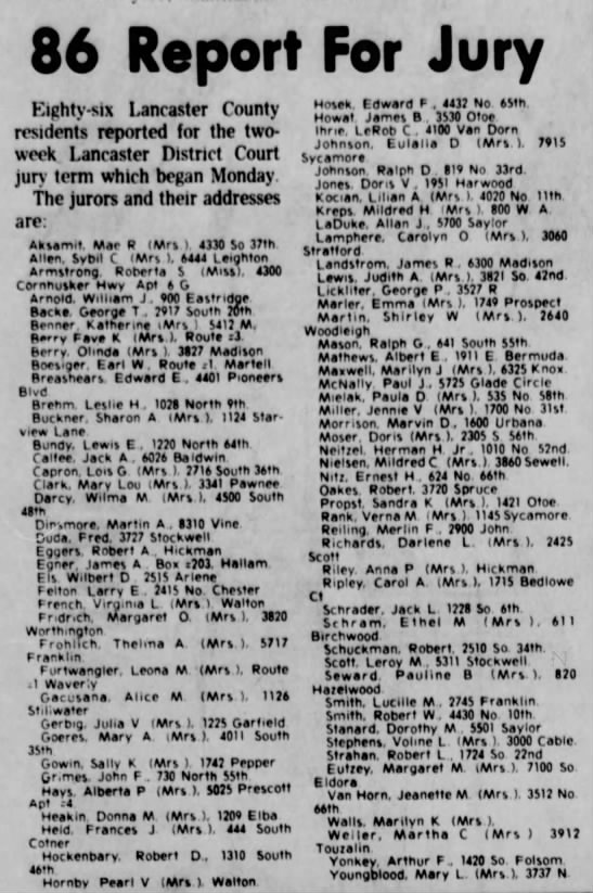 Lilian Kocian Jury Duty from Lincoln Star - 15 May 1973 - 86 Report For Jury Kighty-six Lancaster County...