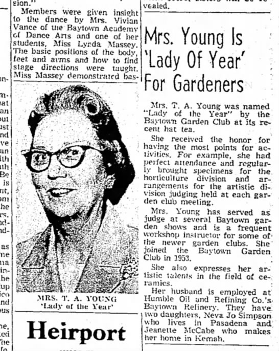 "Ethel Young  Baytown Sun 5-13-1964 - expression."" Members were given iasio;ht to the..."