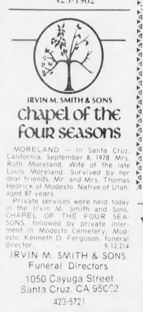"Ruth Moreland Obituary - 1J."")-1902 f If ZT yU IRVINM. SMITH A SONS..."