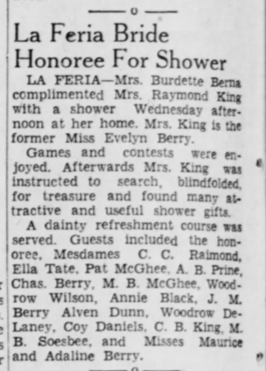 22 Oct 1939 Valley Morning Star Baby Shower for Evelyn Laura King - La Fcria Bride Honoree For Shower LA FERIA—Mrs....