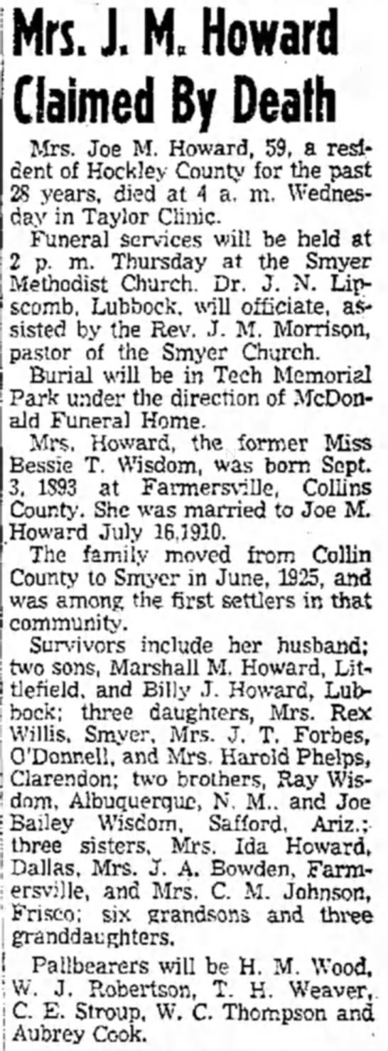 Obit Howard, J M Mrs - Mrs. J. M. Howard Claimed By Death Mrs. Joe M....