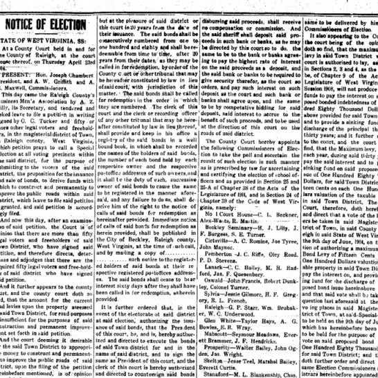 election - NOTICE OF ELECTION STATE OF WEST VIRGINIA. 88:...