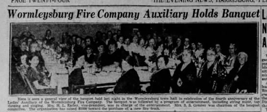 Worm 35-2-8 aux banquet with photo - Wormleysburg Fire Company Auxiliary Holds...
