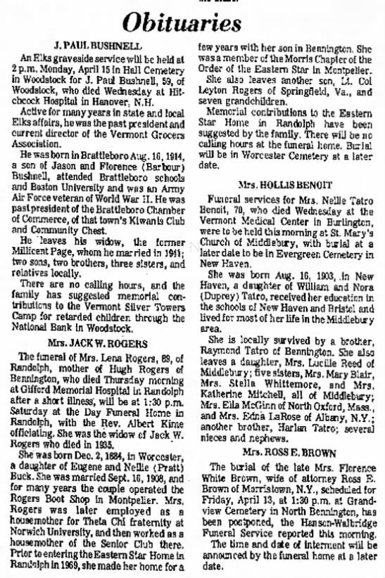 Lena Buck Obituary - Obituaries J, PAUL BUSHNELL...