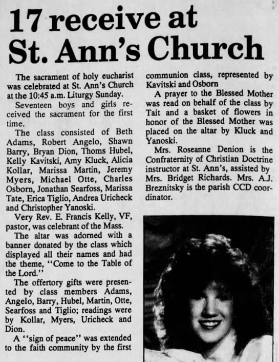 MAY 9TH, 1991 - 17 receive at St. Ann's Church The sacrament of...