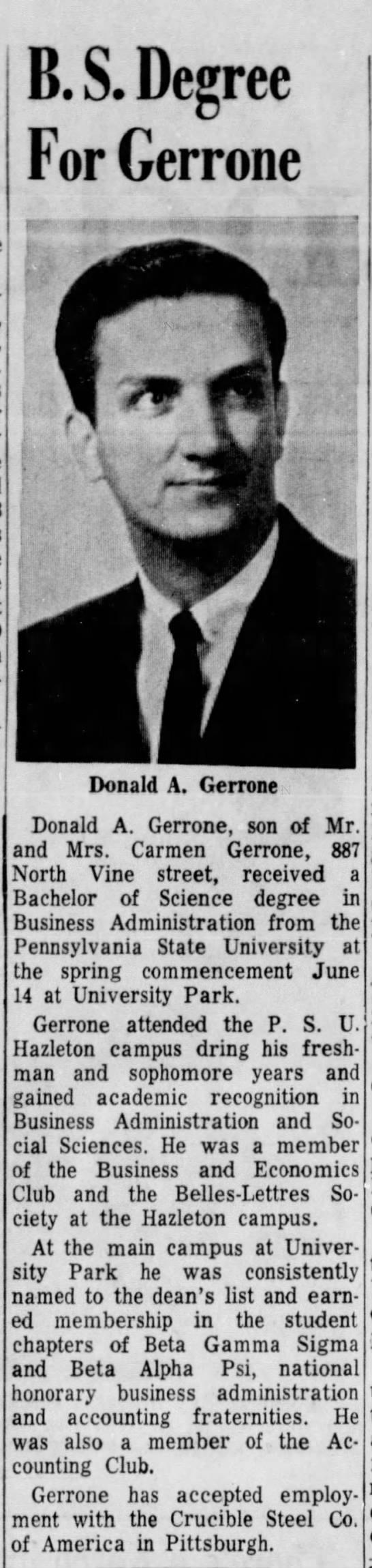 .B.S. Degree for Gerrone - B. S. Degree For Gerrone dfJ Donald A. Gerrone...