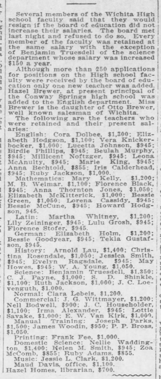 E W Van Kirk 1916 Wichita High School Salary $1000 - alleged-Siglea Several members of the Wichita...