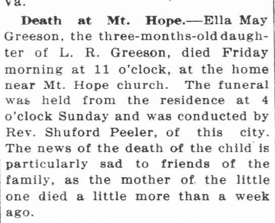 Ella Greeson - Death at Mt. Hope. Ella May Greeson, the...