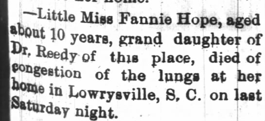 """Fannie Hope Death Anouncement - """"Little Miss Fannie Hope, aged Wiit 10 Reedy of..."""