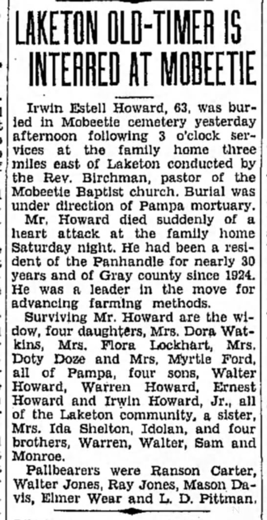 Pampa Daily March 29, 1937 - LAKETON OLD-TIMER IS INTEEDJT MOBEETIE Irwin...
