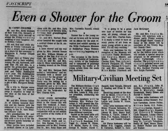 SA EXPRESS, 11 DEC 1970, PG 80 - POSTSCRIPT Even a Shower for the Groom By CATHY...