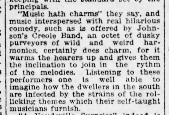 "Creole Band ""wild and weird"" - principals. ""Music hath charms"" they say, and..."