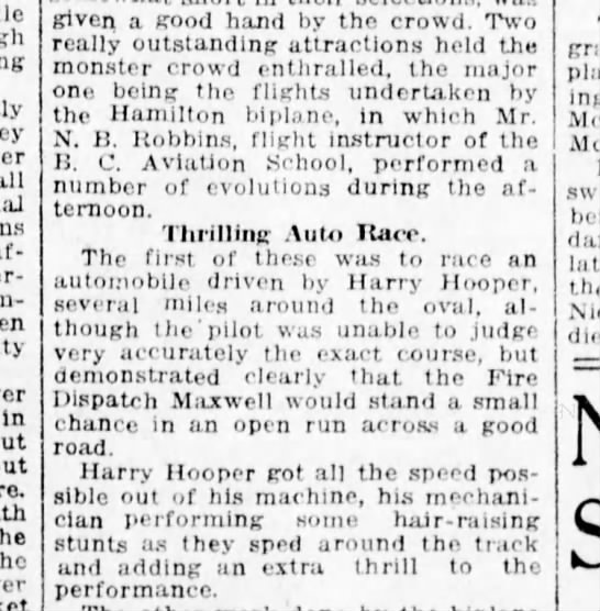 Car vs Aeroplane 25Sept1916 - In the given a good hand by the crowd. Two...