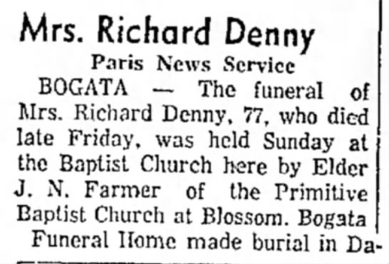 - Mrs. Richard Denny Paris News Service BOGATA —...