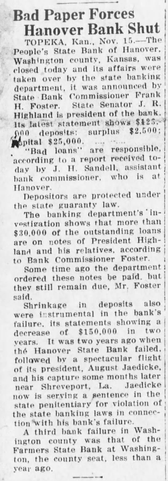 august jaedicke . bad paper forces hanover bank shut . nov 1922 - Bad Paper Forces Hanover Bank Shut TOPEICA....
