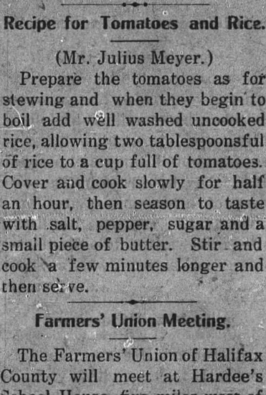 - Recipe for Tomatoes and Rice. (Mr. Julius...