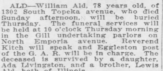 William Ald obit - ALD William Aid, 78 years old, of 1302 South...