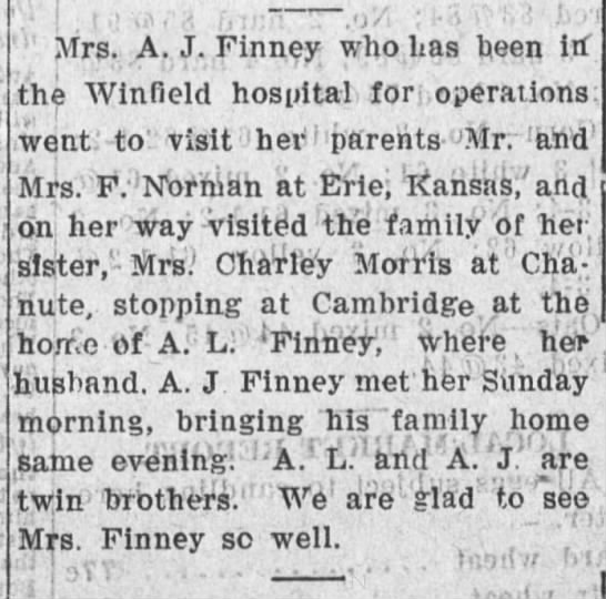 uncle andy - y' Mrs. A. J. Finney who Las heen itf the...