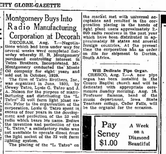 1931 The Mason City Globe Gazette August 7, 1931 - CITY GLOBE-GAZETTE Montgomery Buys Into Radio...
