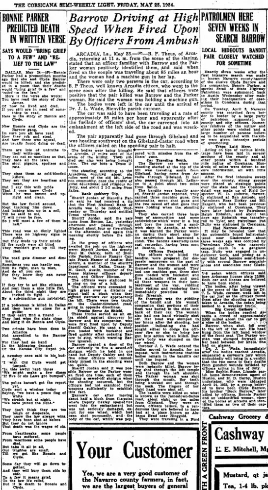CorsicanaSemi-WeeklyLight_25May1934_Bonnie&Clyde - THE CORSICANA SEMI-WEEKLY LIGHT, PRTDAY, MAY...