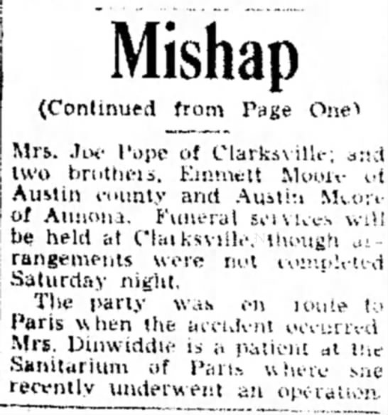 Anna Eliza Moore-Erwin - Paris News - 22 Mar 1936 - Pg. 13 - Mishap (Continued from Page Onet Mrs. ,]ix-...