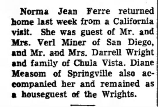 22 July 1959 Norma Jean Ferre - Norma Jean Ferre returned home last week from a...