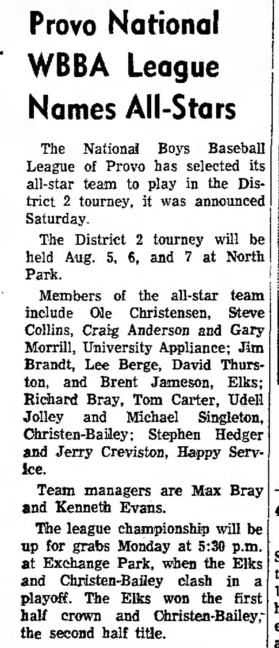 1959 Bray WBBA League - Provo National WBBA League Names All-Stars The...