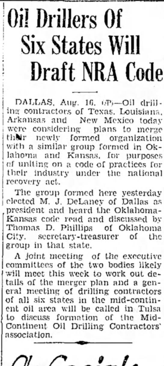 Pampa Daily News (Pampa, Texas), 16 August 1933, Page 5  - Oil Drillers Of Six States Will Draft NRA Code...