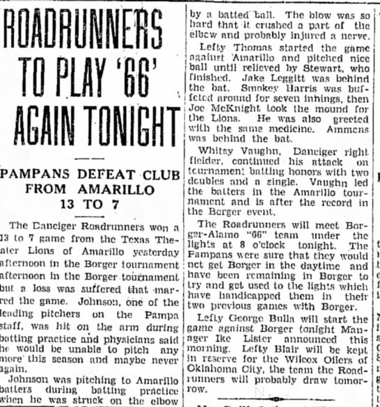 Roadrunners play 66; Lefty Blair cited in article.