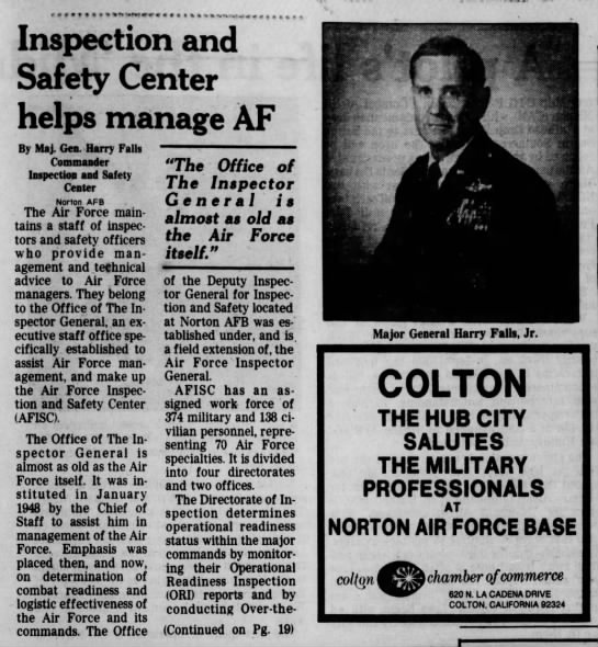 Harry Falls Jr talks about Air Force safety inspection center, part 1, Mar 1982 - Inspection and Safety Center helps manage AF By...