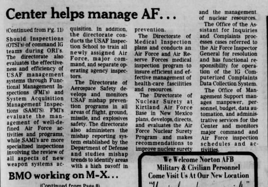 Harry Falls Jr. talks about AF safety and inspection center, part 2, Mar 1982 - Center helps manage AF. . . (Continued from Fg....
