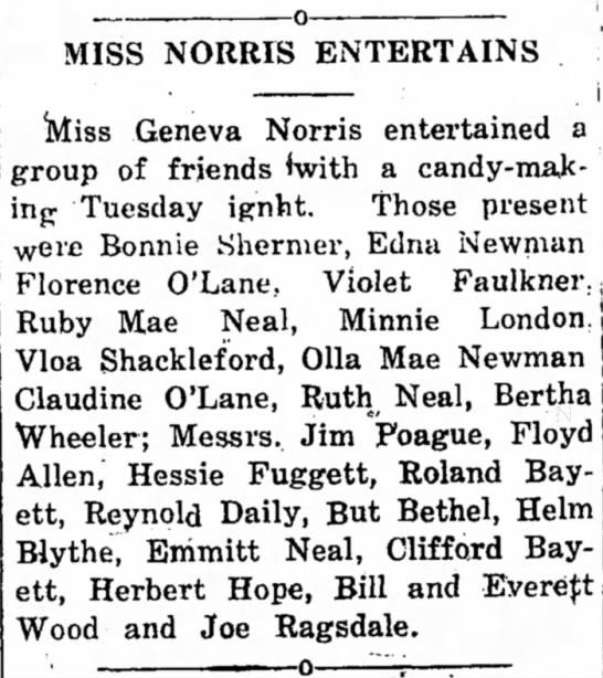 Geneva Norris entertains friends - MISS NORRIS ENTERTAINS , ' Miss Geneva Norris...
