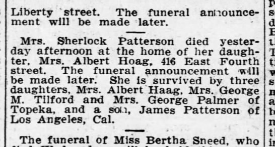 Charlotte Patterson obit - Liberty 'street. The funeral announcement...