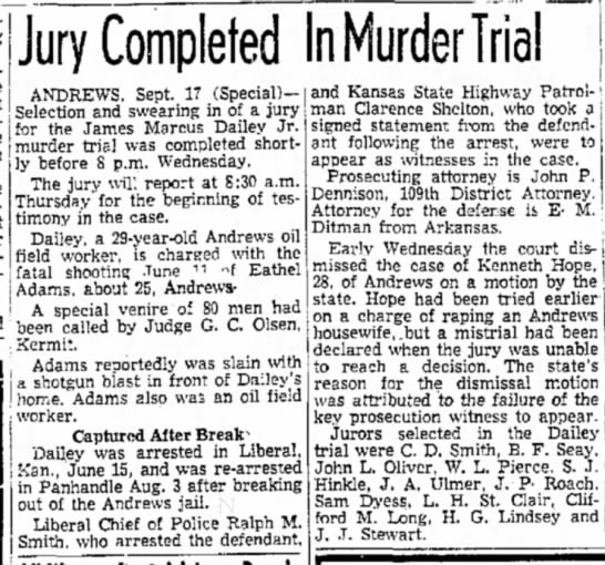 Sept 17 Jury completed - Jury Completed In Murder Trial ANDREWS. Sept....