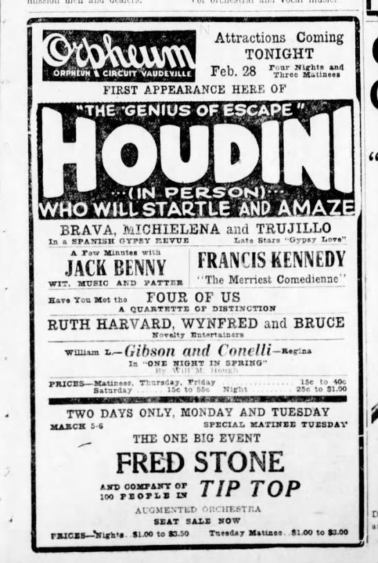 Houdini - 0mammmamHmammmomiammmmmmmmmmmm Attractions...