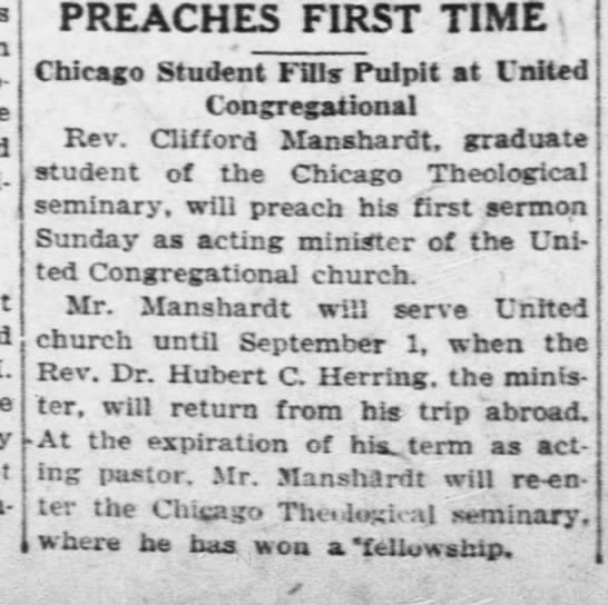 Clifford Manshardt - Wichita - PREACHES FIRST TIME Chicago Student Fills...