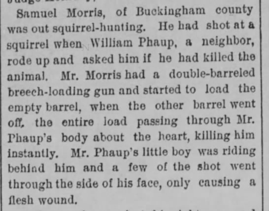 Samuel Morris kills William Phaup - Samuel Morris, of Buckingham county was out...