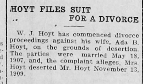 HOYT DIVORCE - iHOYT FILES SUIT FOR A DIVORCE W J Hoyt has...