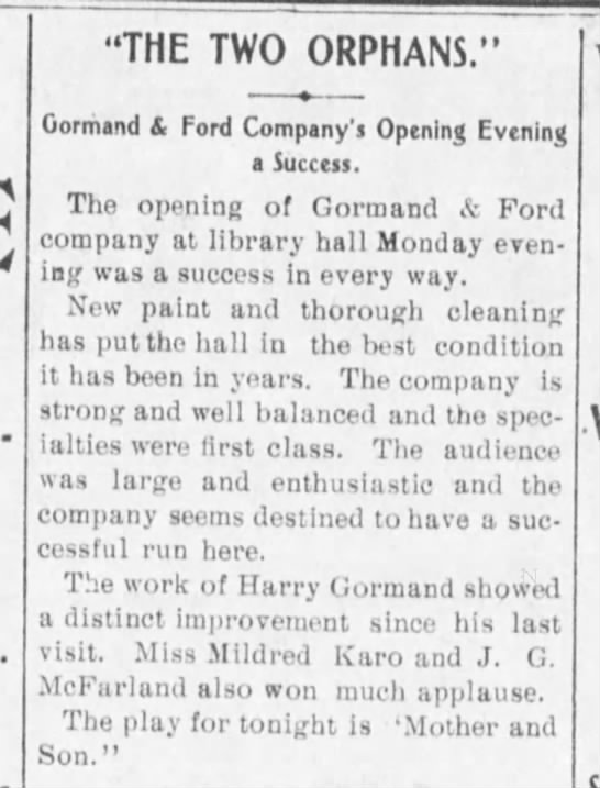 "Gormand Ford 5-17-04 - THE TWO ORPHANS."" Gormand & Ford Company'j..."