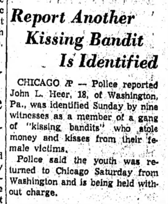 - Report Another ' Kissing Bandit . Is Identified...