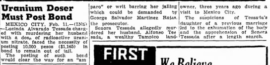 The Corsicana Semi-Weekly Light (Texas), 12 February 1954, p 9. - Uranium Doser Must Post Bond MEXICO CITY. Feb....