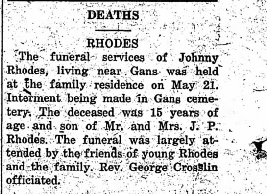 "Deaths- Johnny Rhodes 15yrs of age - DEATHS RHODES "" ^The funeral services of Johnny..."