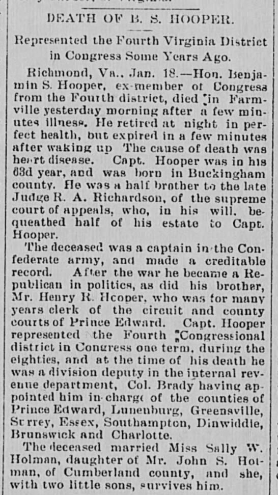 Benjamin S. Hooper obit - DEATH OF B. S. HOOPER. Represented the Fourth...