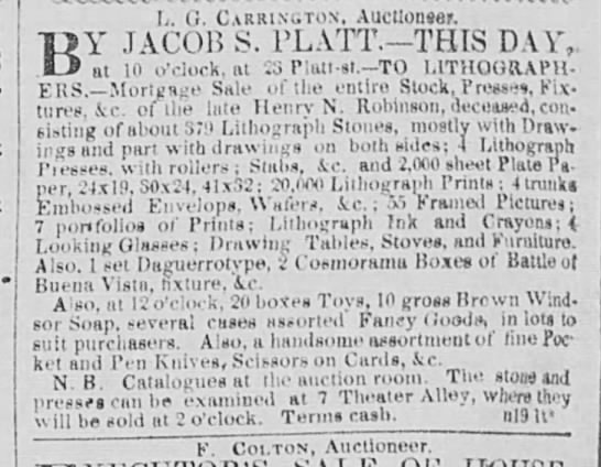 henry robinson's estate, lithog, ny trib nov 19 1850 p 8 - L. (i. Carrington, Auctlonse*. BY JACOB S....